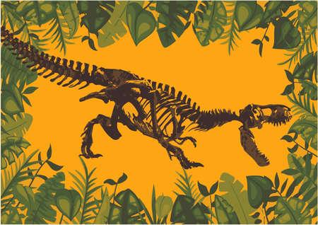 Fossile di scheletro di dinosauro antico. Illustrazione del fumetto piatto vettoriale Vettoriali