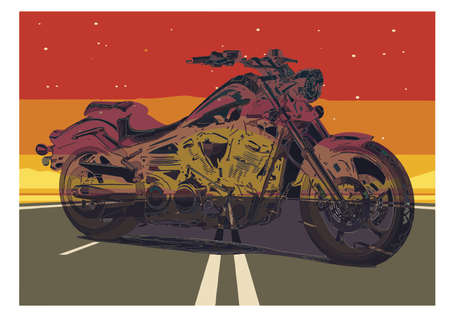 motorcycle poster. Motorcycle on the road with desert background, text and grunge texture.