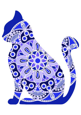 Vector funny graphic cats with floral ornament in tattoo style Ilustração