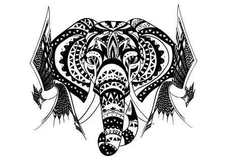 Vintage graphic vector Indian lotus ethnic elephant. African tribal ornament. Can be used for a coloring book, textile, prints, phone case, greeting card