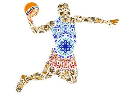 decorative ornaments basketball player vector illustration