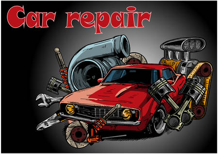 Vintage car components collection witn automobile motor engine piston steering wheel tire headlights speedometer gearbox shock absorber isolated illustration