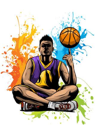 vector basketball player with the ball
