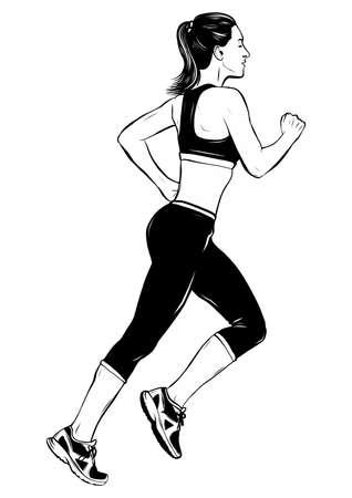 running woman in white background vector illustration Vektorgrafik