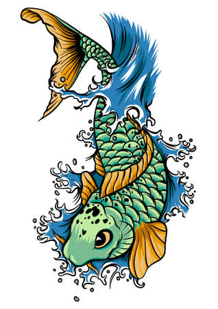 drawn chinese fish swimming in the water illustration