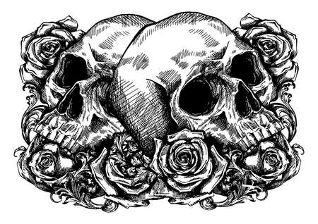skulls wrapped in roses and leaves Stock Vector - 124695830