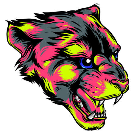 face of a drawn panther vector illustration