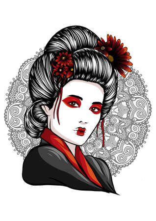 face of a geisha drawn like a comic
