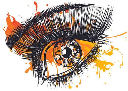 Beautiful Women Eyes with make up Illustration