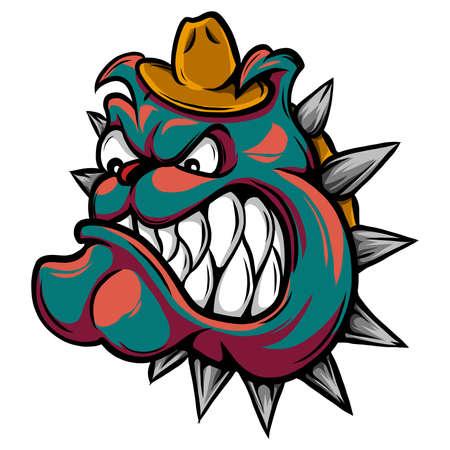 drawing of an angry bulldog s face