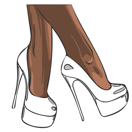 white shoes with heels illustration Illustration