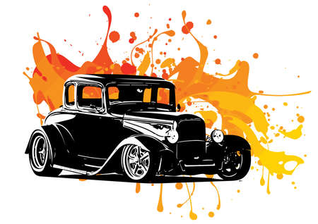 vintage car with colored ink splashes