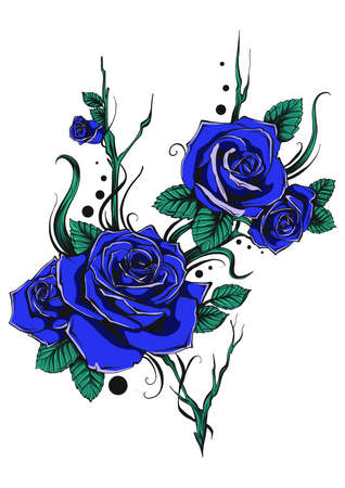 bunch of blue roses with leaves