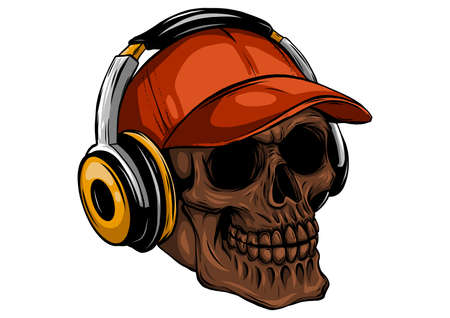 skull with headphones listening to music