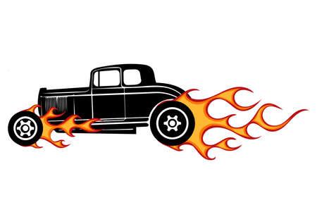 vintage car, hot rod garage, hotrods car,old school car, Vector Illustration