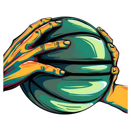 two hands holding a basketball ball