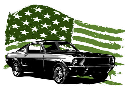 vintage car with the American flag 일러스트
