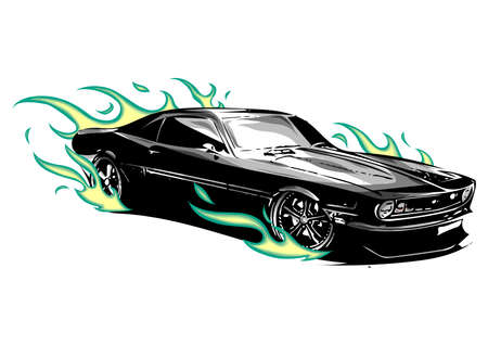 vintage muscle car with flames a and fire around 스톡 콘텐츠