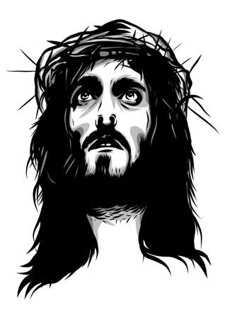 face of jesus with crown of thorns Stock Photo