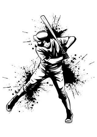 Baseball player, hitter swinging with bat, abstract isolated vector silhouette, ink drawing 스톡 콘텐츠 - 119923681