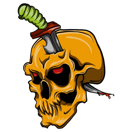 skull with a knife stabbed Stock Illustratie
