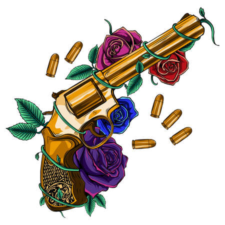 golden gun surrounded by colorful roses and bullets 矢量图像
