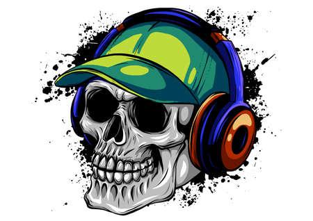 skull with headphones listening to music