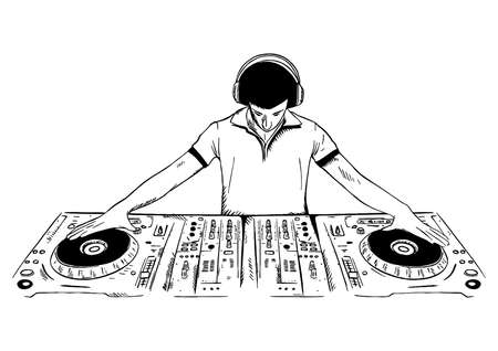 DJ playing the console vector illustration