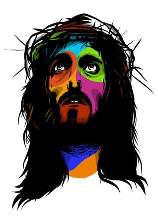face of Jesus in pop art vector style