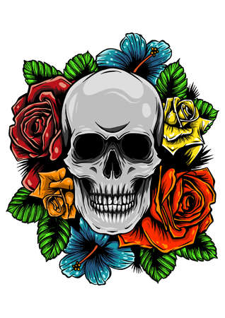 skull wrapped in roses, flowers and leaves Vetores
