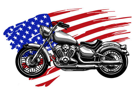 Hand drawn and inked vintage American chopper motorcycle Vector Illustration