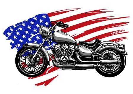 Handgezeichnetes und eingefärbtes Vintages amerikanisches Chopper-Motorrad Vektorgrafik