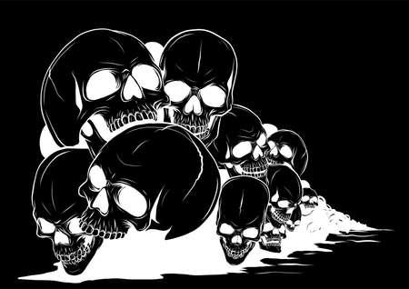 skull and crossbones. human skulls Skulls and bones with shallow depth of field