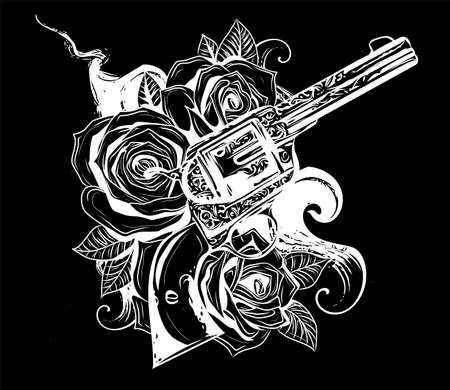 Pair of crossed guns and rose flowers drawn in tattoo style. Vector illustration.