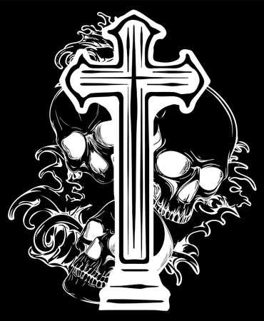 Gotisches Wappen mit Totenkopf und Rosenkranz, Grunge-Vintage-Design-T-Shirts