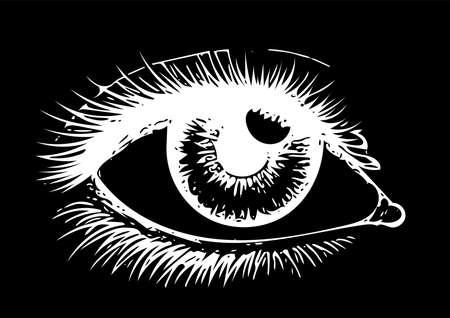 Eye on black background. Eyes art. Woman eye. The eye logo. Eyes art. Human eye