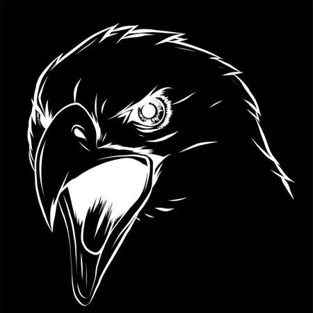 vector illustration a Eagle Head mascot in the black background
