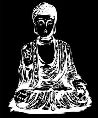 Vector sketch illustration with buddha. Drawing by hand. Boho style. Use for posters, postcards, print for t-shirt, tattoo.
