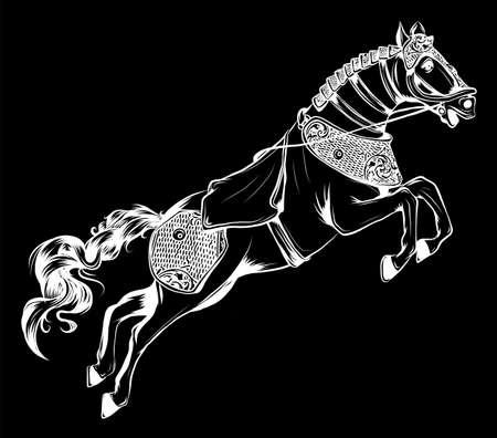 Vector illustration de la silhouette du cheval de course sur fond noir