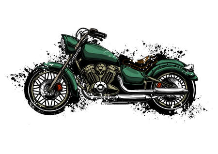 watercolor colorful motorcycle isolated on white Illustration
