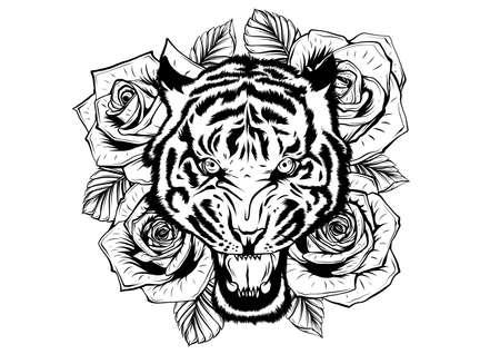 illustrazione vettoriale di testa di tigre ruggente e rose Vettoriali