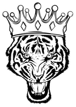 Portrait of a tiger with a golden crown on his head, grinning in fury