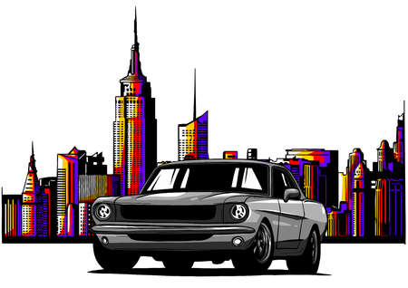 illustration old racing car with grunge city background