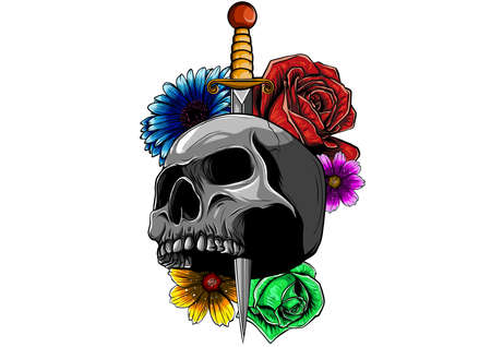 tattoo skull with roses and knife vector illustration