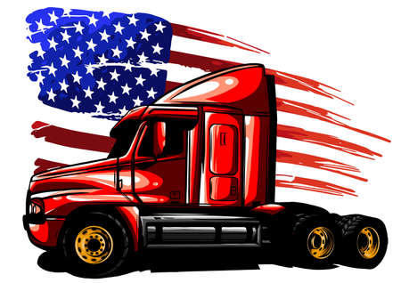 vector graphic design illustration of an American truck with stars and stripes flag Çizim