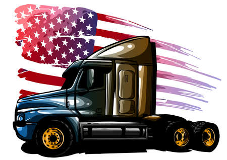 vector graphic design illustration of an American truck with stars and stripes flag Ilustração