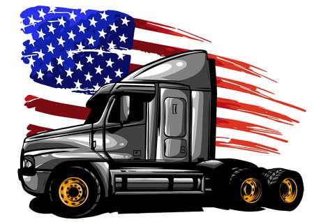 Vector graphic design illustration d'un camion américain avec drapeau stars and stripes Vecteurs