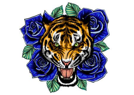 vector illustration of roaring tiger head and roses tattoo Illustration