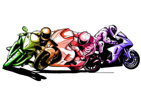 vector illustration Sport superbike motorcycle with struments