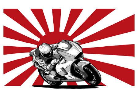 Japanese motorcycle yakuza gangs with flag of rising sun vector illustration